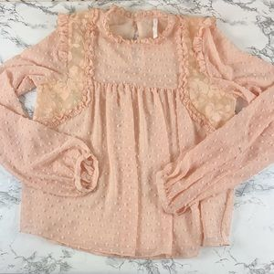 ZARA Trf pink dainty sheer blouse size S